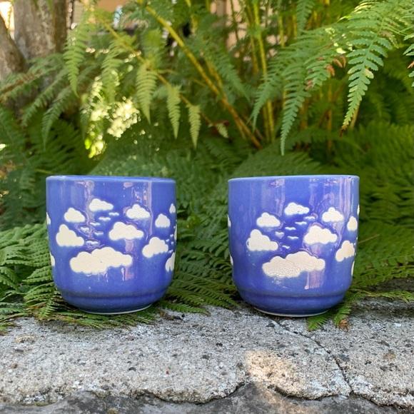 Vintage juice cups with cloud pattern
